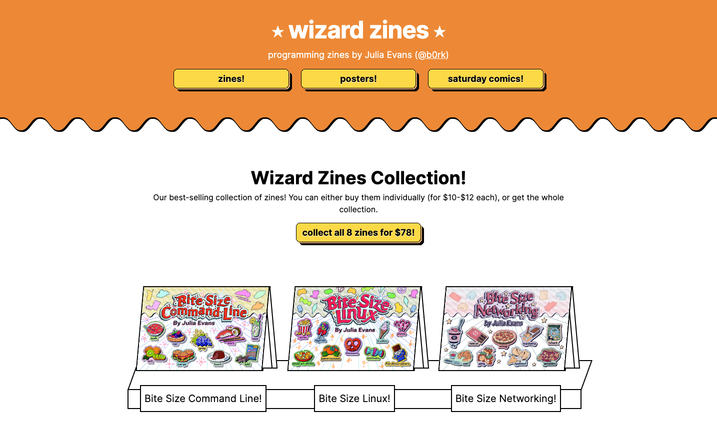 a screenshot of the wizrd zines homepage showing a header and 3 books