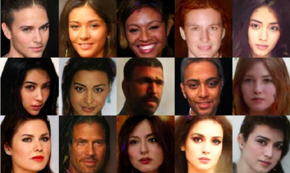 그림1: GAN으로 생성한 가짜 사람 얼굴 이미지