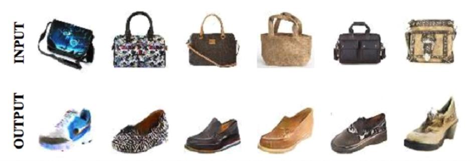 그림11: 핸드백과 같은 스타일의 신발 이미지를 생성하는 DiscoGAN